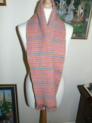Johnstons of Elgin Plaid Pink/Orange/Blue Lambswool Scarf