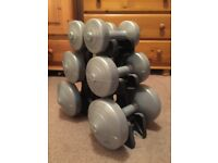 York 6 Piece Dumbell set with stand