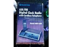 Retro Sanyo cordless phone/radio/alarm
