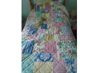 LOVELY PATCHWORK DESIGN COTTON QUILTED SINGLE BED COVER PRETTY PINKS BLUES