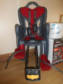 Rear Bicycle Seat for Child. Dark Grey & Red. Max Weight 22kg. Only Used Twice