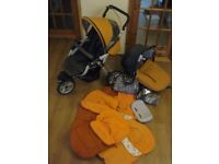 Jane buggy and car seat with summer, winter and rain covers