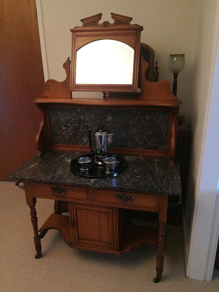 Antique Edwardian Mirrored Wash Stand Marble Top Splashback