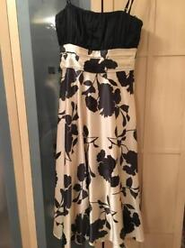 Black and cream floral dress size 8