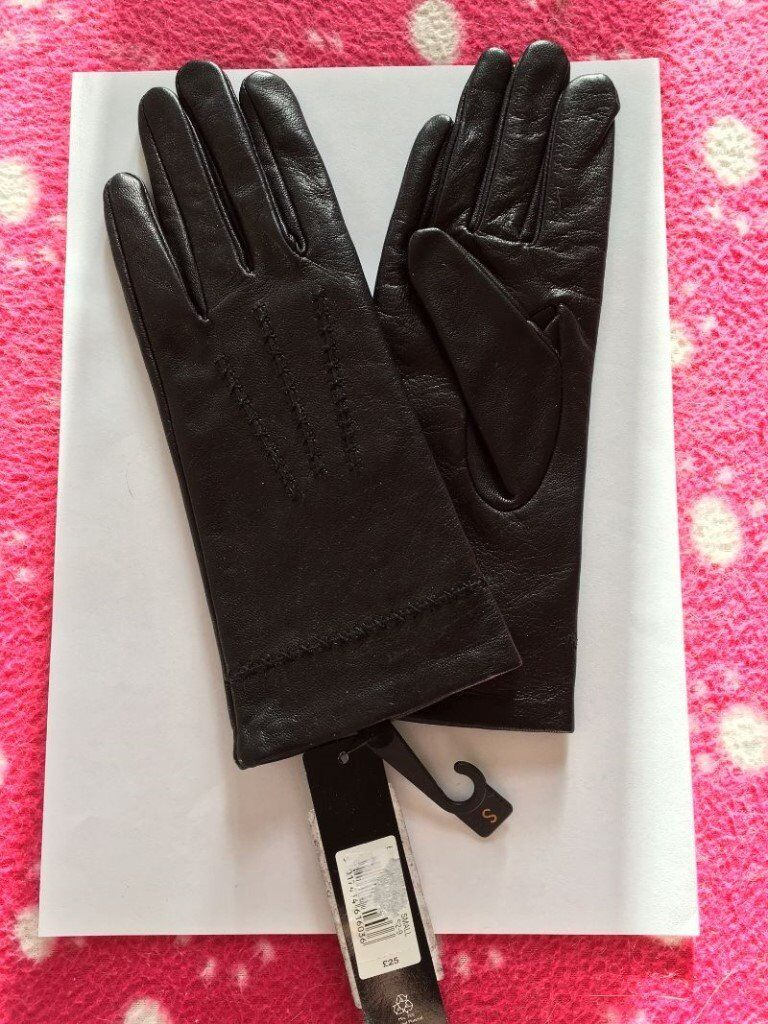 Ladies leather gloves extra small - Ladies Black Leather Gloves Size Small Brand New