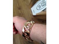 huge solid 9ct gold bracelet 122 grams