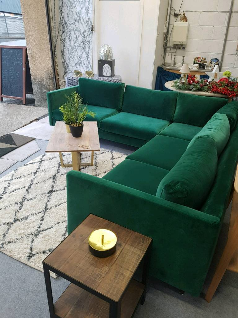 Green Velvet swoon corner sofa   in Denby Dale, West Yorkshire ...