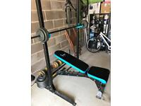 Weight Bench and Rack with weights for sale
