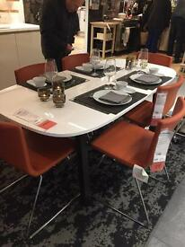 Brand new boxed Ikea dining table- Brown/Black Vastana underframe /white Oppeby table top.