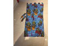 Turtles tab top curtains with tie backs