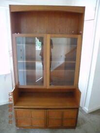 Nathan Teak unit cupboard bookcase display cabinet 2 glass doors 2 bottom doors
