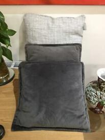 CUSHIONS 1 x LARGE (New) & 2x SMALL GREY COLOUR