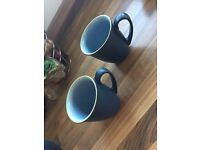 2 denby blue mugs