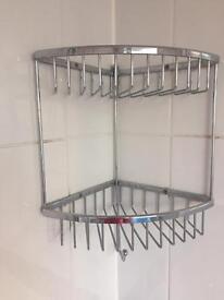 Corner rust free Chrome shower storage basket