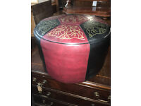 Fab Vintage Retro 60's Red, Black & Gold Round Sherborne Foot Stool Pouffe