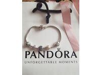 Genuine Pandora bracelet 21 cm with 5 charms
