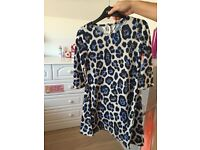 River Island animal print top/dress. Cream and blue. Age 9-10.