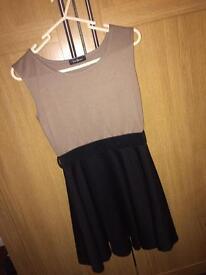 Beige and black short dress