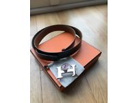 Mens Hermes Reversible Black Tanned Leather Belt with Silver Buckle Size 95cm