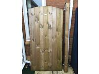 Garden Side Gate Door with Post and Hinges