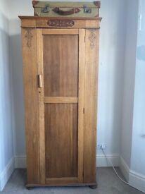 Vintage children's solid oak wardrobe