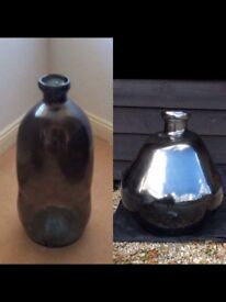 2 Blue mirrored glass vases