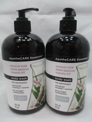 2 ApotheCARE Essentials Rejuvenator Body Wash Coconut Milk Jasmine 16 fl oz each