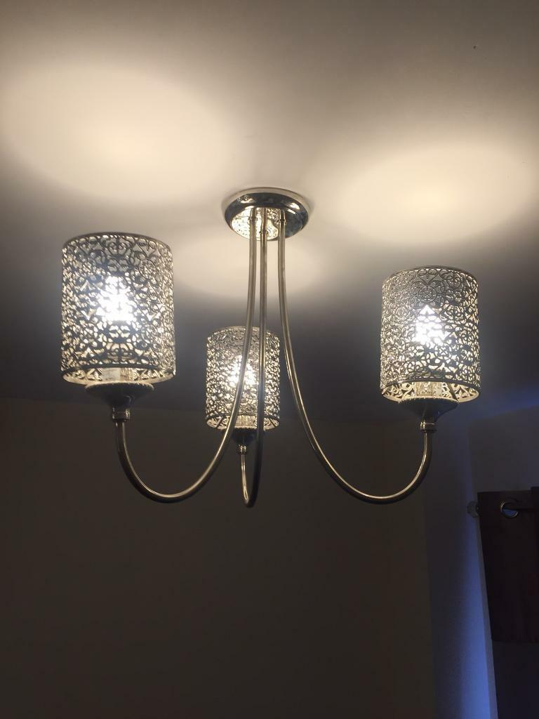 2x Next Chrome 3 Arm Ceiling Light In Peterborough