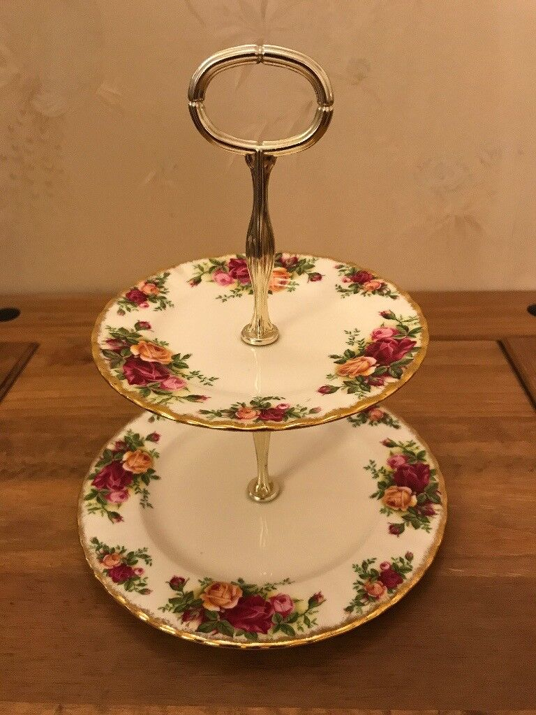 Old Country Rose, 2 Tier Cake Stand, Royal Albert Bone China
