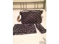 Cath Kidson Green changing bag, mat and bottle warmer