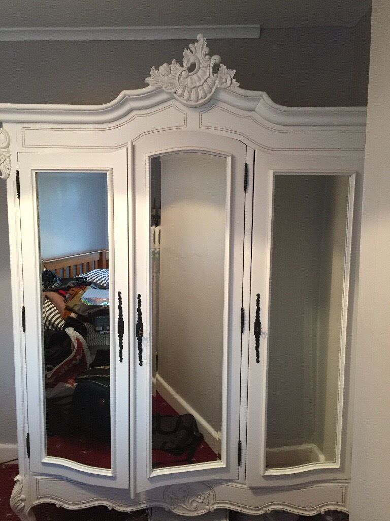 Antique Style French 3 Door Wardrobe Mirrored In Great Barr