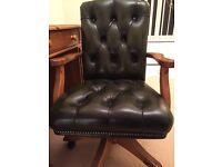 Ducal Antique Pine Halkin Swivel Green Leather office chair
