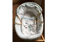 Mamas and papas Moses basket, bedding and stand