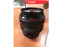 Canon EF 85mm f/1.2 USM II. Boxed with hood, pouch & UV filter