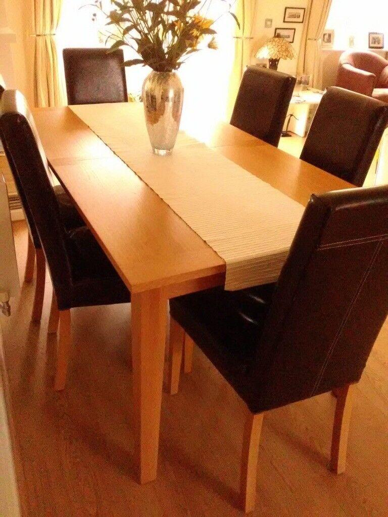Oak veneer dining table 6 chairs