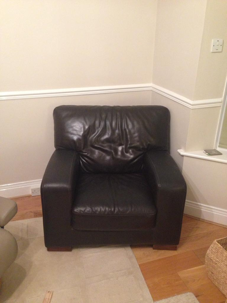 Single brown leather armchair FREE