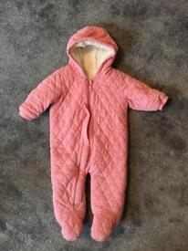 Baby girl's pink cosy snowsuit Next 6-9m