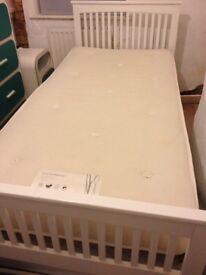 White frame Single Bed converts to a Double Bed