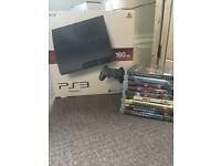 PS3 with 2 controllers and 10 games.collection only