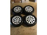 "Set of 16"" genuine Vw alloy wheels and tyres Vw T5 T6 Transporter"
