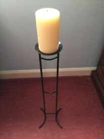 Candle stand / candle stick holder 60cm metal - black