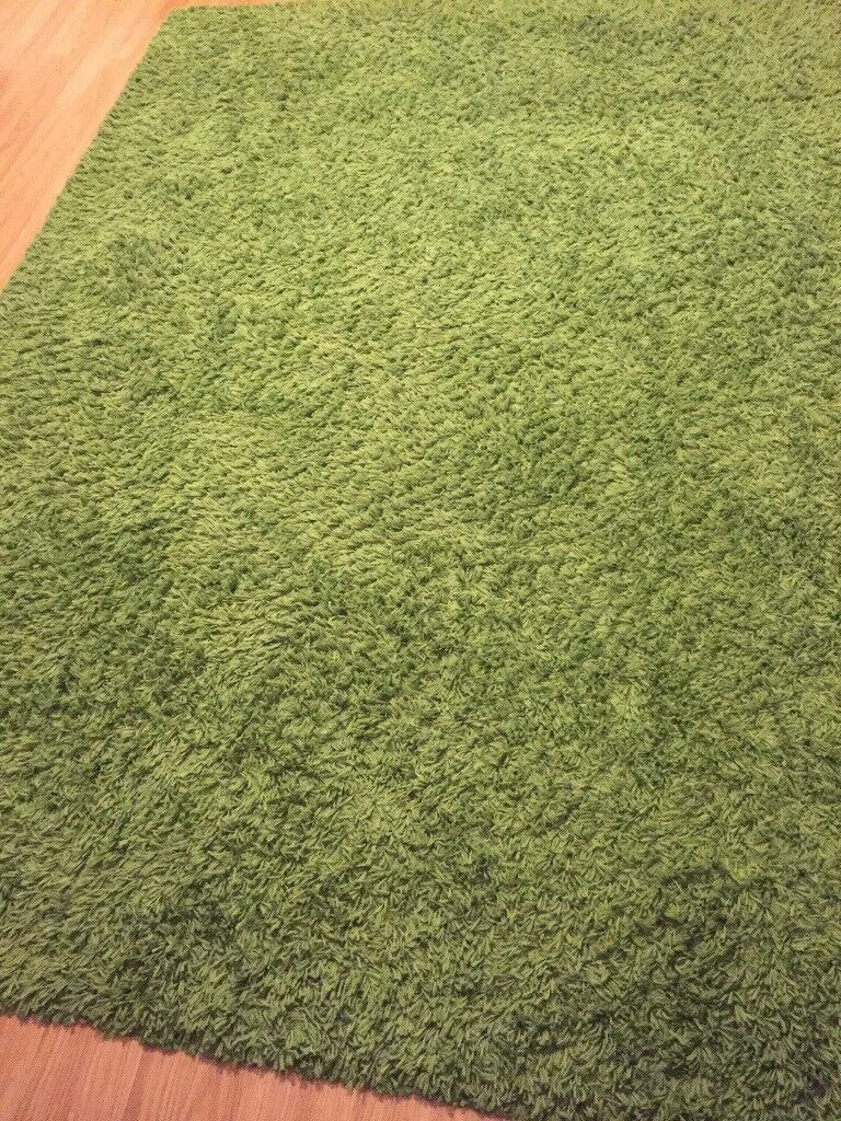 2 Rugs High Pile Bright Green