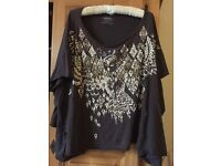 Hand-embellished Owl top by All Saints, size 8