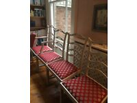 Dining Room Chairs x 4 - Painted and re-upholstered.