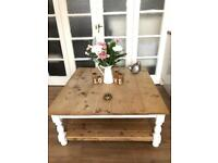 LARGE VINTAGE COFFEE TABLE FREE DELIVERY LDN 🇬🇧rustic solid wood