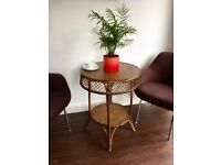 Vintage Wicker Round Occasional Table
