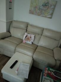 Electric 3 seater modular comes in peices recliner cream real leather