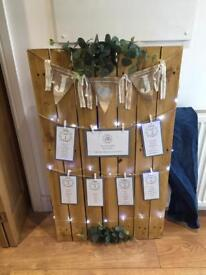 Wedding seating plan pallet, board with lights