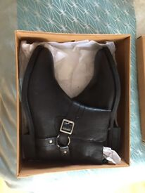 Brand new black leather ankle boots