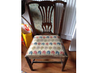 Vintage tapestry seat Chippendale-back chair for restoration
